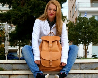 XLarge leather backpack/ Natural backpack/ Classic backpack/ Leather knapsack/ Leather rucksack/ Carry on bag/ Greek leather bag/ code 140