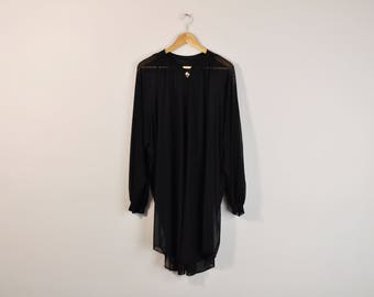 Sheer Black Duster, Vintage 80s Peignoir, Black Mesh Robe, Long Sleeve Peignoir, Sheer Black Nightie, Vintage Negligee, 80s Lingerie Robe
