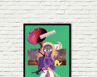 Command-Collage-Pop Art-surreal (paper, vintage clippings, glue)