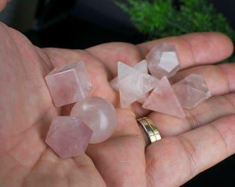 Seven Piece Rose Quartz Platonic Geometric Set - Crystal Geometric Set