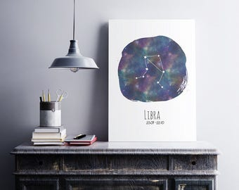 Libra Wall Decor | libra birthday gift, constellation art, zodiac wall art, wall decor, digital print, libra constelation, printable art