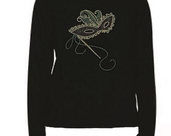 Mardi Gras Mask 9 Rhinestone Ladies T Shirt                                                                            LR ME97