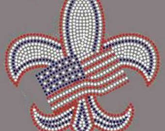 Rhinestone USA fleur de lis 4 th of july Ladies Lightweight T-Shirt or DIY Transfer                                    F7SZ