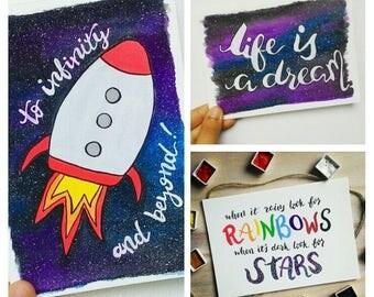 SET OF 3 - Galaxy Wanderlust Watercolor Handmade Motivational Notecards