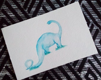 Original Watercolor Postcard - Blue Dinosaur
