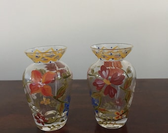 Lot Of 2 Vintage Hand Painted Mini Glass Vase