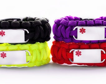 Medical Paracord Bracelet, Free lazer Engraving, ID Bracelet, Paracord Bracelet, Medical ID Bracelet, Medical ID Tag, Alert Bracelet