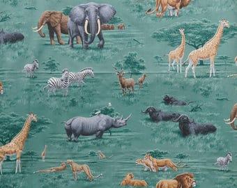 "Fabric vintage ""African savanna""-110 cm x 110 cm-elephants zebras-giraffes-Buffalo-lions - 1990"