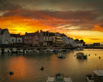Photography color of sunset at Quiberon, Port Haliguen, Brittany, France / Landscapes of France Photography Fine Art