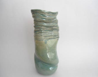 tall ceramic vase, handmade, unique contemporary, one-of-a-kind, warm green color, home decoration, house warming gift, wedding gift