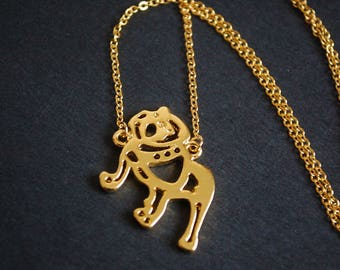 Gold tone  bull dog necklace