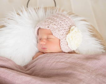 Soft Pink Vintage Style Baby Bonnet