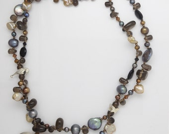 Ladies Handmade Brown,Blue and Pearl Shades of  Stones ,Beaded Necklace with Silver 925 Pendant