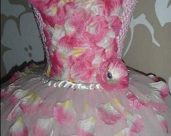 Floor length Tutu dress, Party dress with petals and diamante, Pink sparkly occasion dress