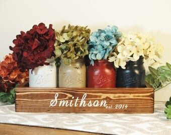 Personalized Decor, Personalized Gift, Wedding gift, Wedding shower gift, Farmhouse style, Anniversary gift,Painted jars, Rustic, home decor