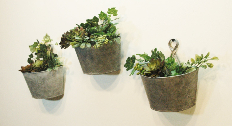 Herb pots for kitchen - Galvanize Tin Wall Pot Wall Decor Home Decor Farmhouse Style Metal Pots