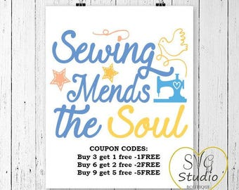 SVG Cutting File-Sewing Mends The Soul - Sewing Quote SVG Cutting File