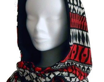 Tribal print reversible hood and fleece