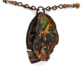 Sunset Moth Wing And Found Metal Pendant