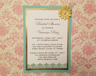 Turquoise and Gold Bridal Shower Invitations