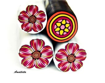 Polymer clay flower cane: Raw polymer clay cane - Millefiori cane supplies - Magenta and orange flower cane - Supplies for jewelers