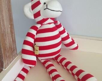 Red and White Stripped Cheeky Monkey Teddy// 32cm Teddy// Monkey Soft Toy// Kids Teddy