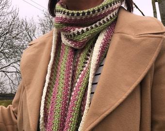 Scarf - Ladies Scarf - Stripy Scarf - Long Scarf - Warm Scarf - Tassle Scarf - Multicoloured Scarf - Pink Scarf - Green Scarf - Soft Scarf