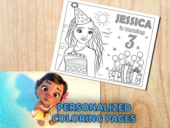 personalized moana 10 party activity coloring pages printable party digital pdf