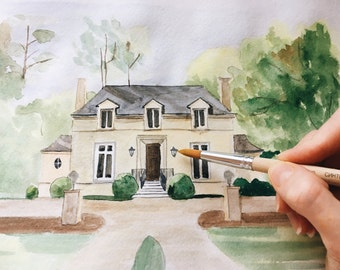 Custom Home portrait / Watercolor House Painting / House Illustration / New Home Gift / Grandmother Gift
