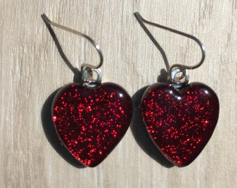 Dichroic Fused Glass Earrings -  Bright Red Heart Earrings with Solid Sterling Ear Wires