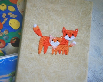 Hand embroidery notepad foxes