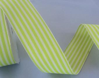 Lime/white stripe, Fine grosgrain, 1.5 inches wide
