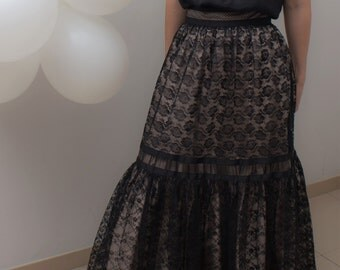Black midi length skirt, lace / long skirt / black skirt / lace skirt