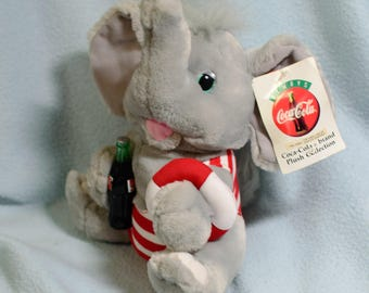 Coke, Coca Cola Brand plush Elephant, 1993 tagged, 8""