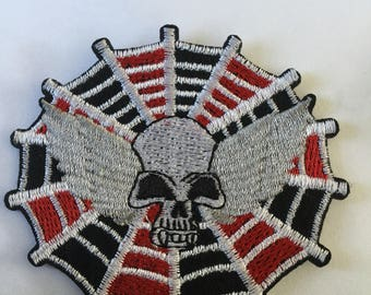 Skull Spiders Web Embroidered Patch  Iron Or Sew