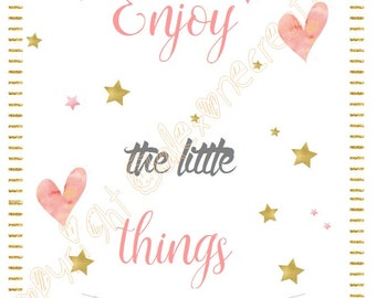Illustration Enjoy the little things pink and gold, stars and hearts, tassel Garland, nice typography