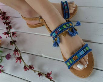 "Bohemian sandals ""Aelia"" ,Greek leather sandals"