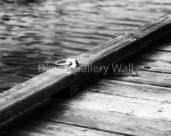 Dock Ring (b&w) - Digital Download - Summer Decor - Printable Wall Decor - Nautical Print - Coastal Decor - Nautical Decor - Coastal Print