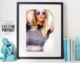 Custom Fashion Painting From Photo, CUSTOM portrait, Printable Art, watercolor portrait, original corporate gift, Best gift for lover