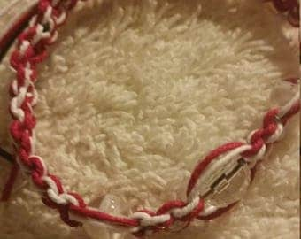 Maroon and White Hemp Cord with White Acrylic Beads