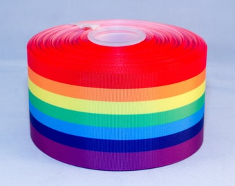 "Rainbow Stripe Grosgrain 75mm 3"" Ribbon for Bows Cheer Craft 1 Meter"
