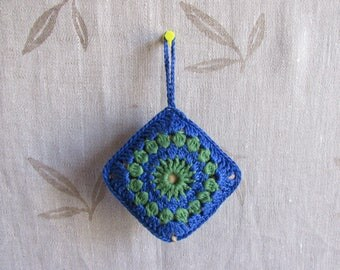 Blue green crochet lavender sachet handmade gift mandala aromatherapy dried lavender pouches wardrobes refreshener aromatic ready to ship