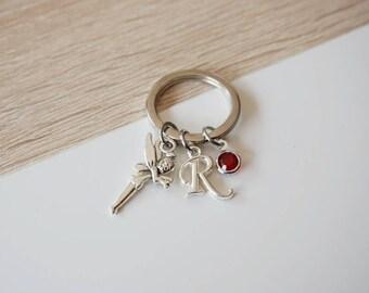 door key fairy letter initial and birthstone swarovski - fairy gift