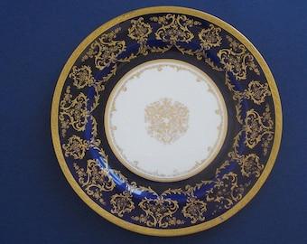 "Royal Doulton cobalt blue gilt and enameled plate 10.5""  ( HB signed )"