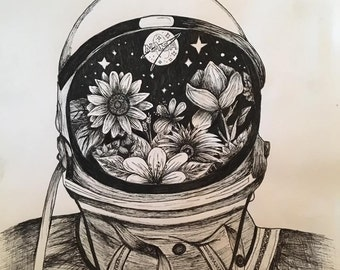 Pen and Ink Astronaut