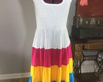 Vintage Stretchy White Summer Dress Pink Yellow Blue Sundress Elastic top