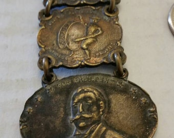 Vintage 1908 William Howard Taft Presidential Campaign Fob 4 Piece 2 Sided GOP