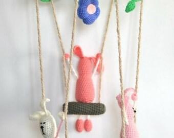 Baby crib mobile, Bunnies baby mobile, Nursery mobile, Swinging bunnies lullaby mobile, Pink