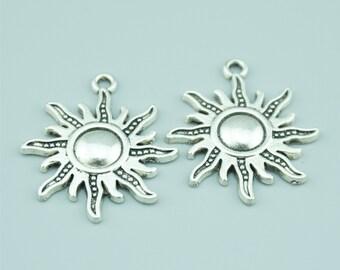 20pcs 24x28mm Antique Silver Sun Charm Pendants Z1764A