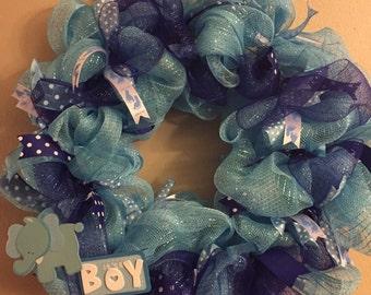 It's a Boy Mesh Wreath
